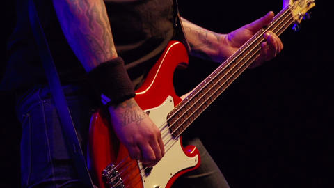 Bass player on stage Stock Video Footage