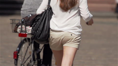 Young woman with bag on his back Stock Video Footage