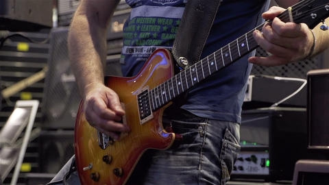 Lead Guitar player on stage Stock Video Footage