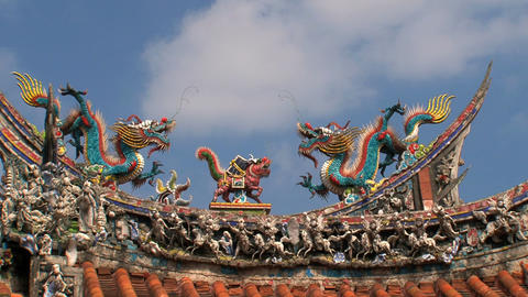 Roof Longshan Temple timelapse Stock Video Footage