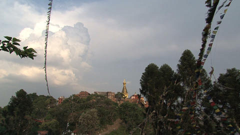 Far away view of the top of the swayambhunath stup Stock Video Footage