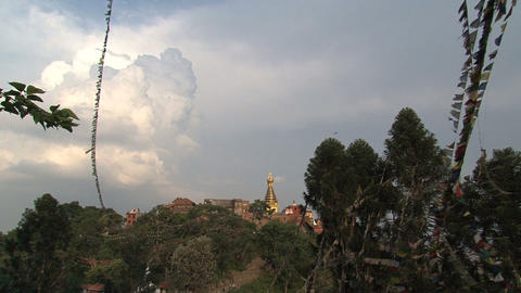 Far away view of the top of the swayambhunath stup Footage