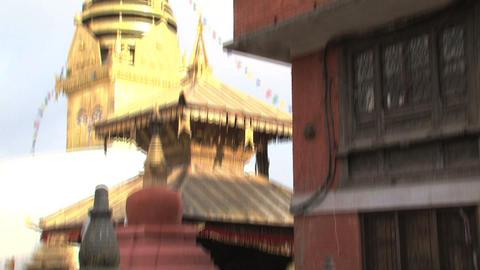Tilt swayambhunath stupa Stock Video Footage