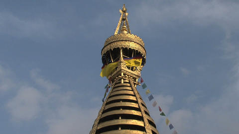 View from the top of the Swayambhunath stupa, monkey temple Footage