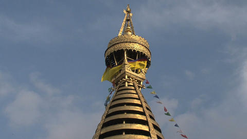 View from the top of the Swayambhunath stupa, monkey temple Stock Video Footage