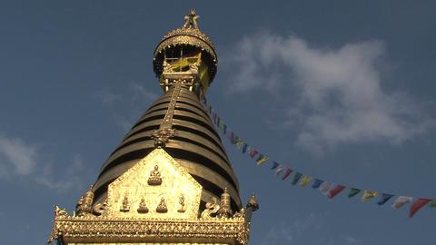 Swayambhunath stupa, monkey temple with prayer flags Stock Video Footage