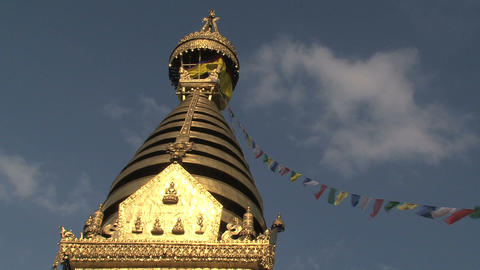 Swayambhunath stupa, monkey temple with prayer flags Footage
