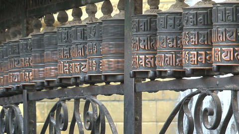 Spinning prayer wheels Stock Video Footage