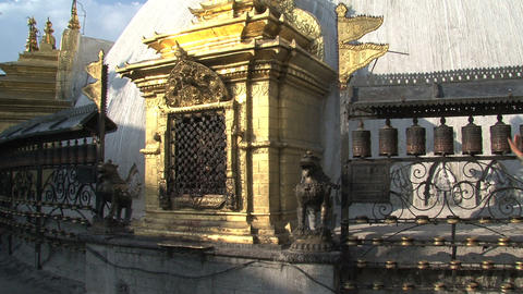 Tilt from Swayambhunath stupa, monkey temple to th Footage