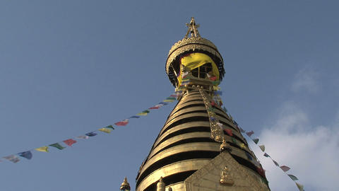 Swayambhunath stupa, monkey temple with prayer fla Footage