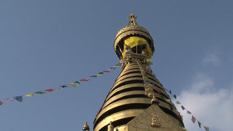 Swayambhunath stupa, monkey temple with prayer fla Stock Video Footage