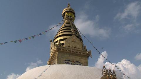 Swayambhunath stupa, monkey temple with prayer fla Footage