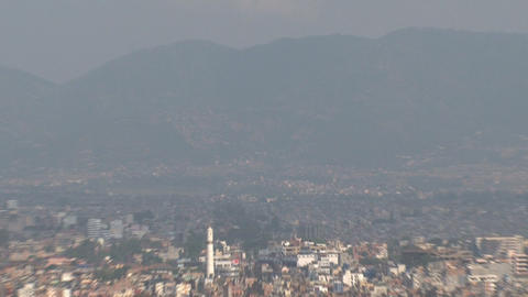 Atop a hill in the Kathmandu Valley Zoom out Stock Video Footage