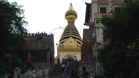 People walking at the stair to the Swayambhunath s Stock Video Footage