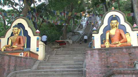 stair to the Swayambhunath stupa Stock Video Footage