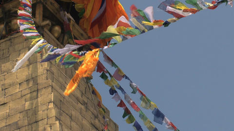 Prayer flags close up in the wind Footage