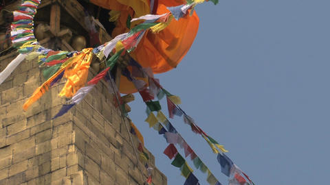 Prayer flags close up in the wind Stock Video Footage
