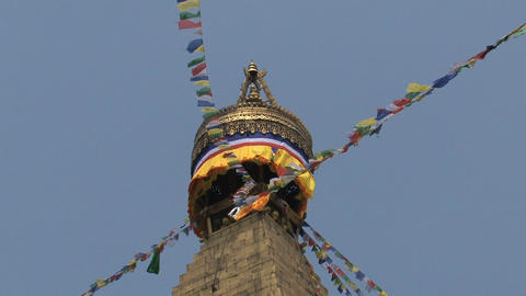 Prayer flags on the top of the Boudha stupa Stock Video Footage