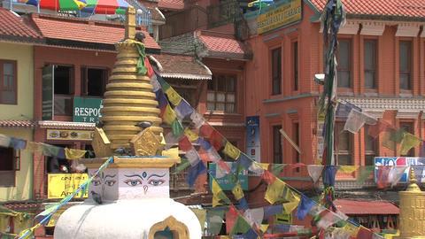 Small stupa next to the Boudha stupa Stock Video Footage