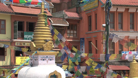 Small stupa next to the Boudha stupa Stock Video Footage