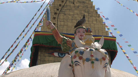 Statue in front of the Boudha stupa Footage