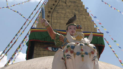 Statue in front of the Boudha stupa Stock Video Footage