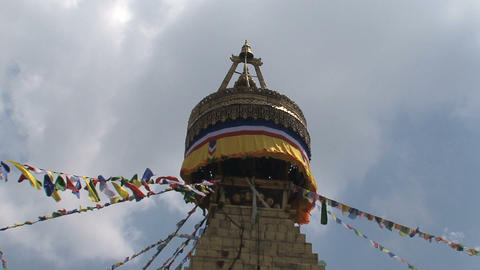 Tilt to the top of the Boudha stupa Stock Video Footage