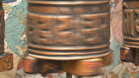 Close up from a prayer wheel Stock Video Footage