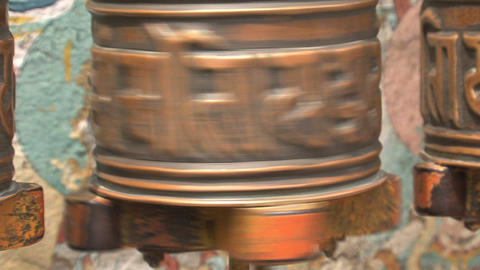 Close up from a prayer wheel Footage