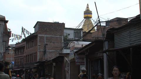 Street behind the Boudhanath Stupa Stock Video Footage