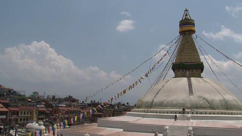 Boudha stupa with prayer flags in Kathmandu Stock Video Footage