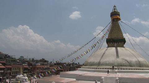Boudha stupa with prayer flags in Kathmandu Footage