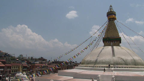 Boudha stupa with prayer flags in Kathmandu Stock Video Footage