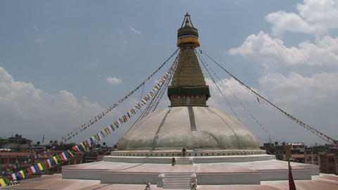 wide shot from the Boudha stupa with a tilt to the Stock Video Footage