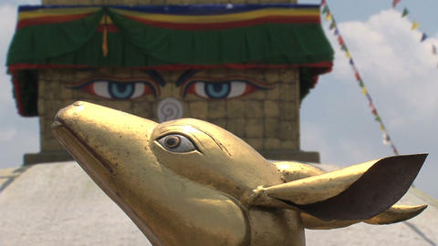 Focus from Boudhanath Stupa eyes to Golden brahma  Footage