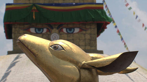 Close up from the Golden brahma symbol in front of Stock Video Footage