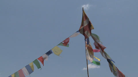 Prayer flags with a buddhist flag Live Action