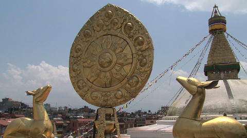 Golden brahma symbol in front of the Boudhanath St Footage