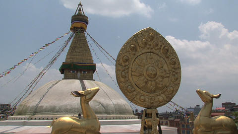 View from balcony at the Boudha stupa Stock Video Footage
