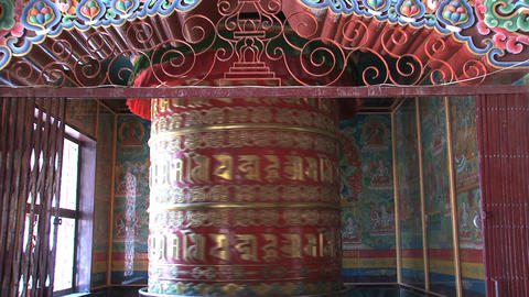 Big prayer wheel at Boudhanath Stupa Stock Video Footage