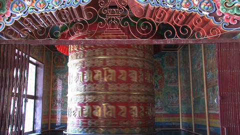 Big prayer wheel at Boudhanath Stupa Footage