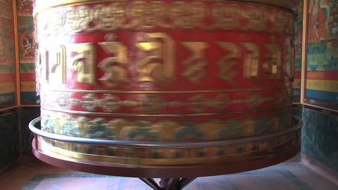 bottum from a big prayer wheel at Boudhanath Stupa Stock Video Footage