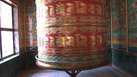 big prayer wheel at Boudhanath Stupa with sound Stock Video Footage