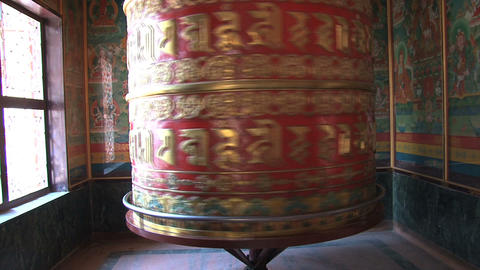 big prayer wheel at Boudhanath Stupa with sound Footage