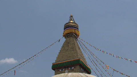 Top of the Boudha stupa in Kathmandu, Nepal Stock Video Footage