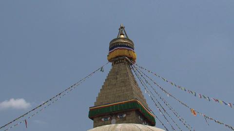 Top of the Boudha stupa in Kathmandu, Nepal Stock Video Footage