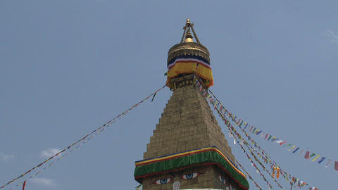 Top of the Boudha stupa in Kathmandu Stock Video Footage