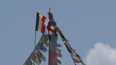Prayer plags near the Boudha stupa Stock Video Footage