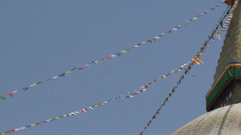 Prayer flags on the side of the Boudha stupa Stock Video Footage
