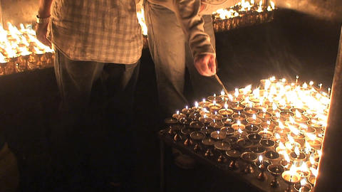 Turning on candles Footage